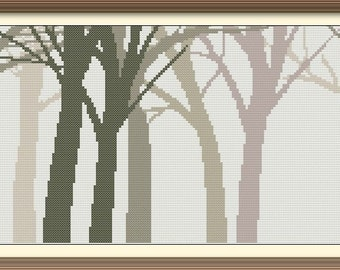 Forest in Fog Counted Cross Stitch Pattern PDF Chart Instant Download Modern Original Design Autumn Scenery