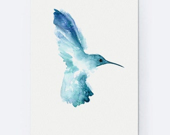 Teal Hummingbird Watercolor Painting, Abstarct Animals For Bird Lover, Blue Kids Room Decor, Birdies Art Print
