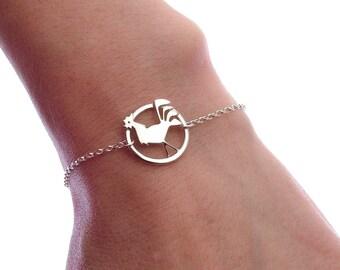 Year of the Rooster Bracelet - Sterling Silver Rooster Bracelet - Zodiac Sign Jewellery - Gift Card Bracelet - Chain Bracelet