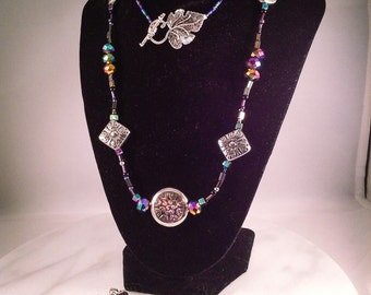 Swarovski faceted crystals, tibetan silver grapevine toggle clasp, purple and blue, long necklace and dangle earring set