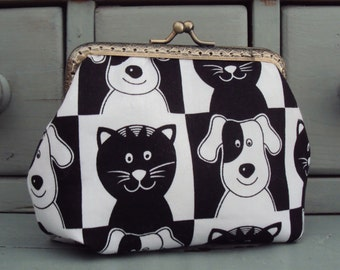 Cat and dog purse, black cats, white dogs, pet lovers gift