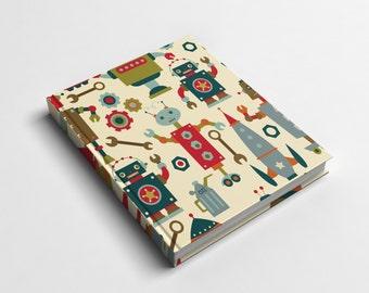 Journal or Spiral Notebook | Robot City Hard Cover Journal or Wire Bound Notebook | School Notebook | Spiral Notebook for Kids