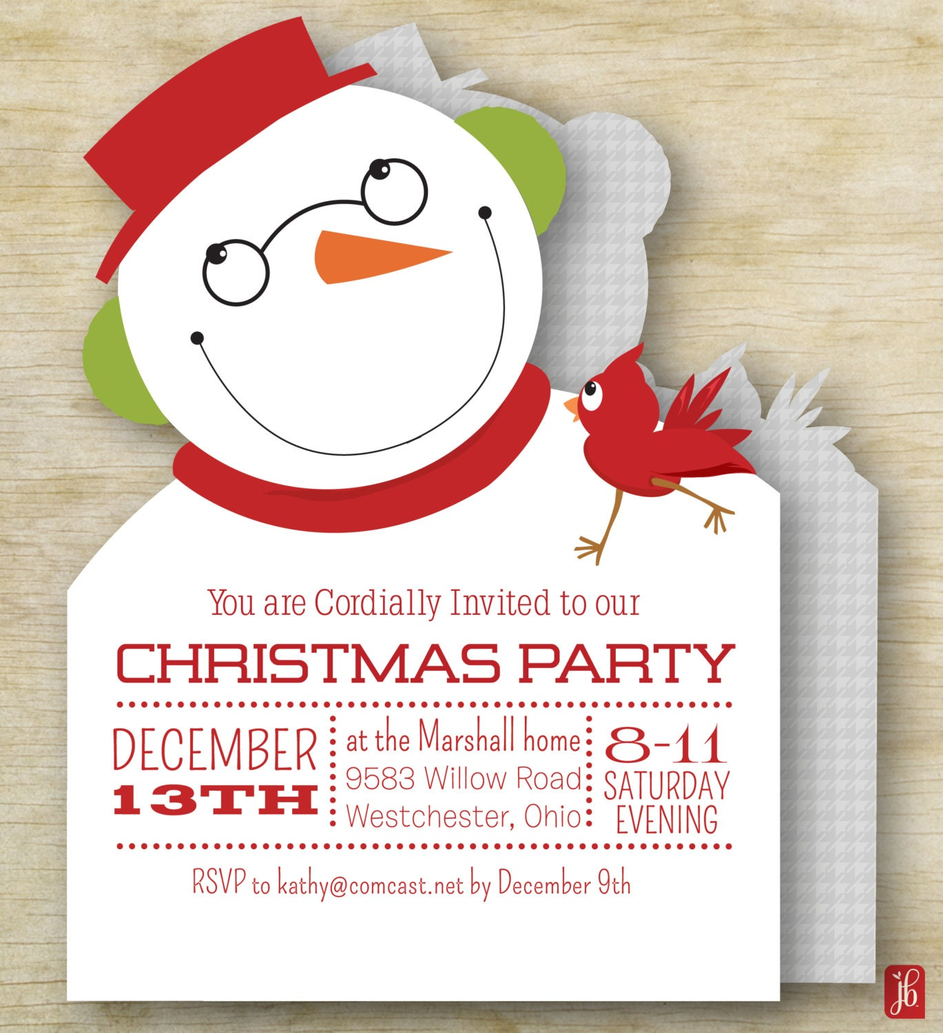 Snowman and Cardinal Custom Christmas Invitation for a Holiday Party ...