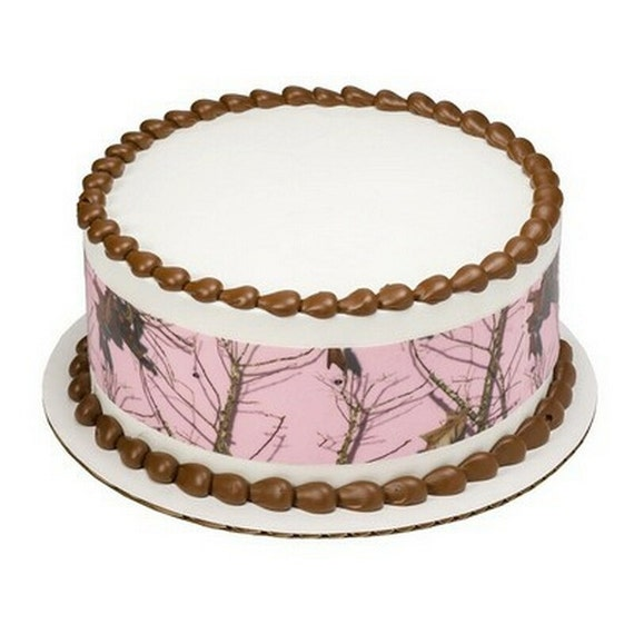 Pink Camo Licensed Birthday Designer Strips Edible Cake