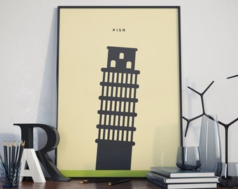 Leaning Tower of Pisa, Pisa, Italy Print. A3 Poster.