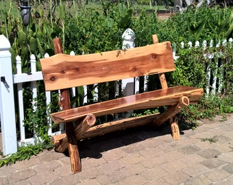 Clearance! 20% off regular price!  Rustic Cedar Bench with back, perfect for inside or out!