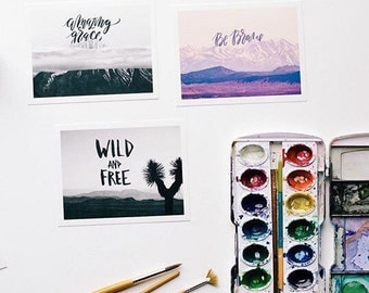 Set of inspirational Postcards, be brave, amazing grace, and wild and free, the nature of boldness collection, snail mail