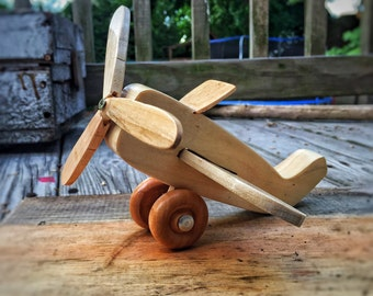 Wooden Toy Plane, Handmade Toy, Propeller Plane, Kids Toy, Wooden Aircraft