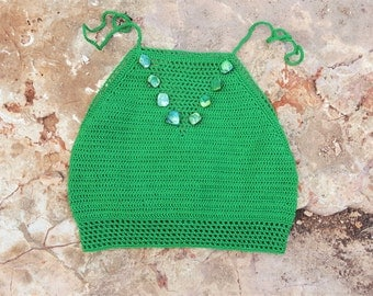 DISCOUNT 50%//Top crochet with mother of Pearl//swimwear////Regalo//women's summer Accessory Gift for you//handmade//Made in Italy