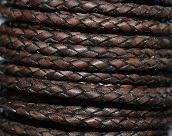 Antique Brown - 3mm Bolo Braided Leather Cord per yard