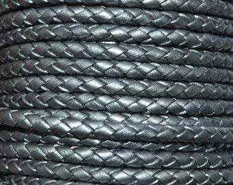 Grey - 3mm Bolo Braided Leather Cord per yard