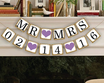 MR and MRS Save The Date Banner - Wedding Date Banners - Date Sign - Wedding Banner Photo Prop - Date Garland