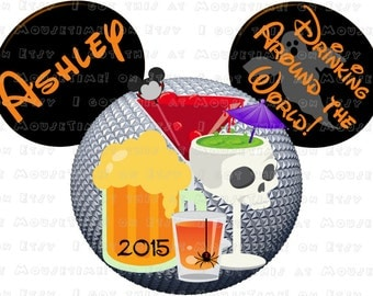 IRON-ON Halloween Drinking Around the World EPCOT Ears! - Mouse Ears Tshirt Transfer
