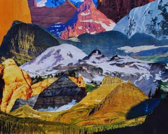 Original Moose Mountain Collage 8x10 Comes Framed