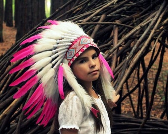 Native American  Indian Feather Headdress ~ Mardi Gras ~ Costume ~ Chief Headpiece~Cow boys and Indians Dress Up