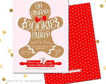 Oh Snap Cookie Exchange or Swap Party Invite - 5X7 with *bonus reverse side*