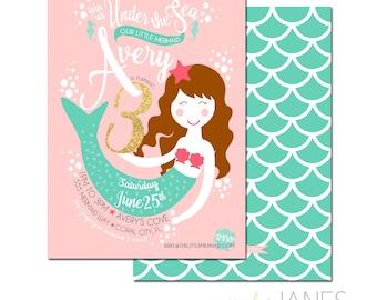 "Mermaid Birthday Invite | Mermaid Pool Party Invite | Mermaid Invite | Printable Mermaid Invite - 5X7 with *bonus reverse side"""