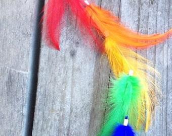 Rainbow Boho Feather Hair clip, Clip in hair feather accessory, temporary festival wear, feather hair extension, boho, feather clip