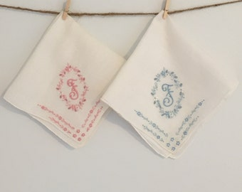 Pair of Vintage Embroidered Cotton Handkerchiefs Letter F Monogram 1940s