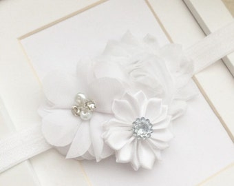 White headband,baptism headband,flower headbands,flower girl headbands,christening headbands,baby headbands,girls headbands