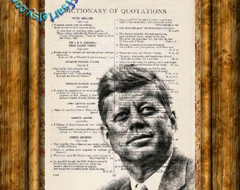 John F Kennedy JFK Drawing - Beautifully Upcycled Vintage Dictionary Page Book Art Print, President Print
