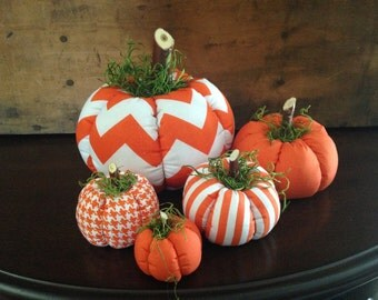 Fabric Pumpkins, Chevron Stripe 5