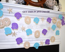 Sand Dollar Seashell garland, Coastal decor baby shower, Beach theme birthday garland Mermaid Party, Nautical garland, Seashell banner decor