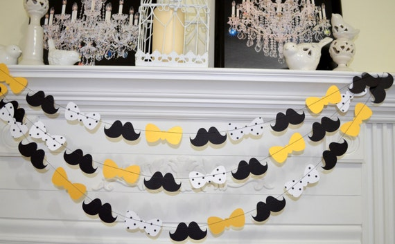 Bow tie and mustache garland gold polka dot bowtie banner for Gold dot garland