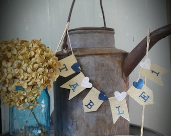 Navy blue and gold Table number banner