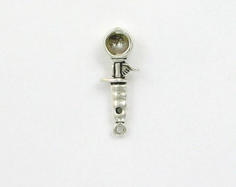 Sterling Silver 3-D Ice Cream Scoop Charm