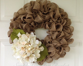 Burlap wedding wreath accented with a cream hydrangea, wedding burlap wreath, spring wedding, summer wedding, fall wedding, burlap wreath