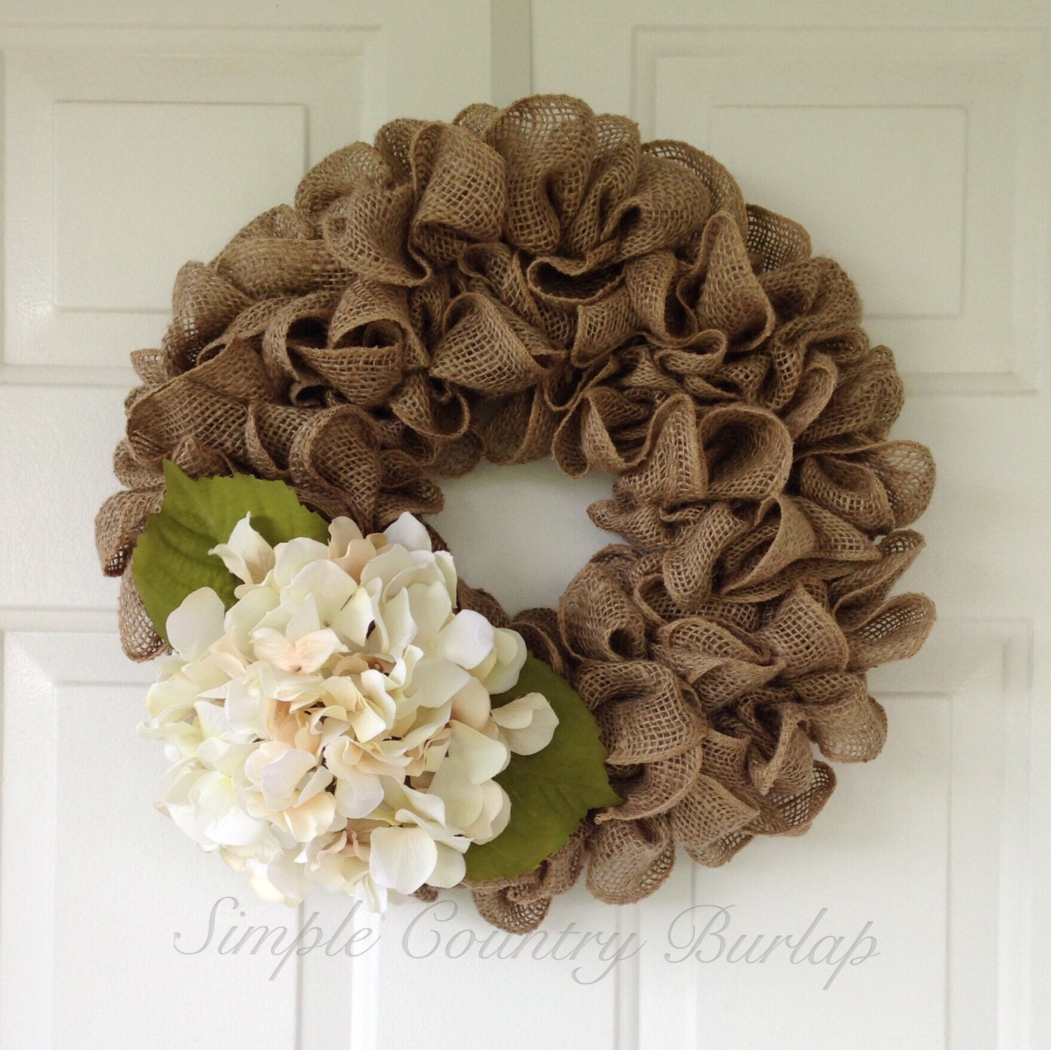 everyday spring burlap wreath accented with a cream hydrangea. Black Bedroom Furniture Sets. Home Design Ideas