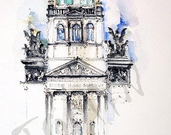 The National museum. Prague. Original watercolor painting.