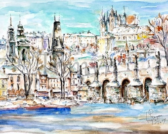 Original watercolor painting.  Winter Prague.