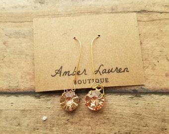 Gold Peach crystal drop earrings