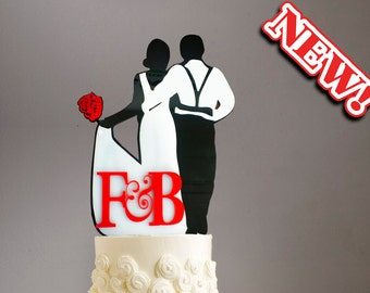 3D CAKE TOPPERS Bride & Groom walking with Roses (monogram optional)