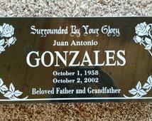 "Custom Memorial Headstone - 16""x8""x2"" Black Granite to Your Specs"