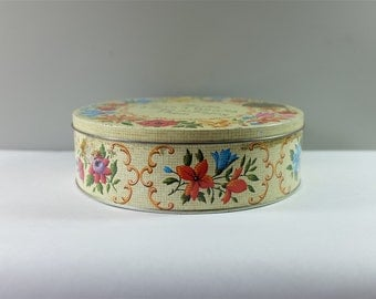 Vintage Carrs of Carlisle England Floral Needlepoint Poem Biscuit Round Metal Tin Can - Biscuit Tin Carrs Carlisle Poem - Health & Love