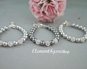 Bridal bracelet, Wedding jewelry, Bridal jewelry, Silver rhinestone ball Swarovski ivory pearls Set of 3 bridesmaid bracelets gift Thank you