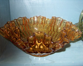 Vintage Fenton Glass Amber Thumbprint Bowl