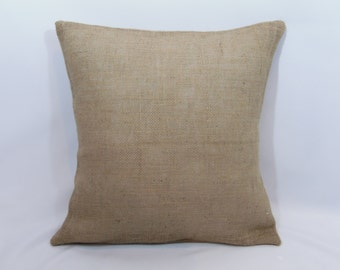 """Custom made """"natural"""" country rustic burlap pillow cover/sham. Multiple sizes to choose from."""