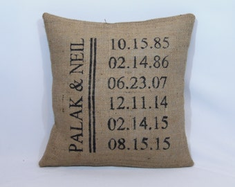 Personalized name and dates custom made rustic country burlap pillow cover/sham - Multiple sizes and custom color options