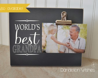 Personalized Picture Frame Gift For Grandpa, Custom Photo Frame  {World's Best Papa} Chalkboard Frame, Custom Gift For Grandparents, 8x10