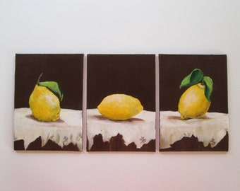 Original Set of Three Lemon Paintings  5x7 canvas board textured Still Life