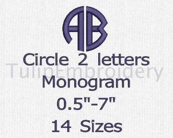 Circle 2 Letters Monogram Satin Stitch Font 14 Sizes Embroidery Design