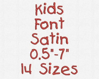 Kids Font 14 Sizes Embroidery Design