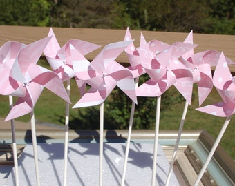 Paper Pinwheel Pink Polka Dots / Stripes Wind mill Baby Shower Wedding One 1st Birthday Bridal Shower Party Favor Placecard Centerpiece