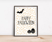"Happy Halloween Printable Art Print - Instant Download - 4x6"" 5x7"" 8x10"" 8.5x11"" A4 11x14"""