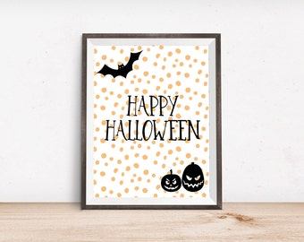 "Happy Halloween Printable Art Print - Instant Download - 4x6"" 5x7"" 8x10"" 8.5x11"" A4 11x14"""
