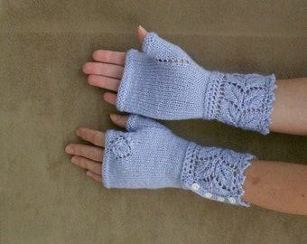 Fingerless Mittens (gloves)/Arm Warmers with feafy accent